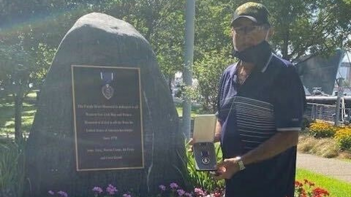 John Sanabria at Buffalo Naval Park Purple Heart Monument