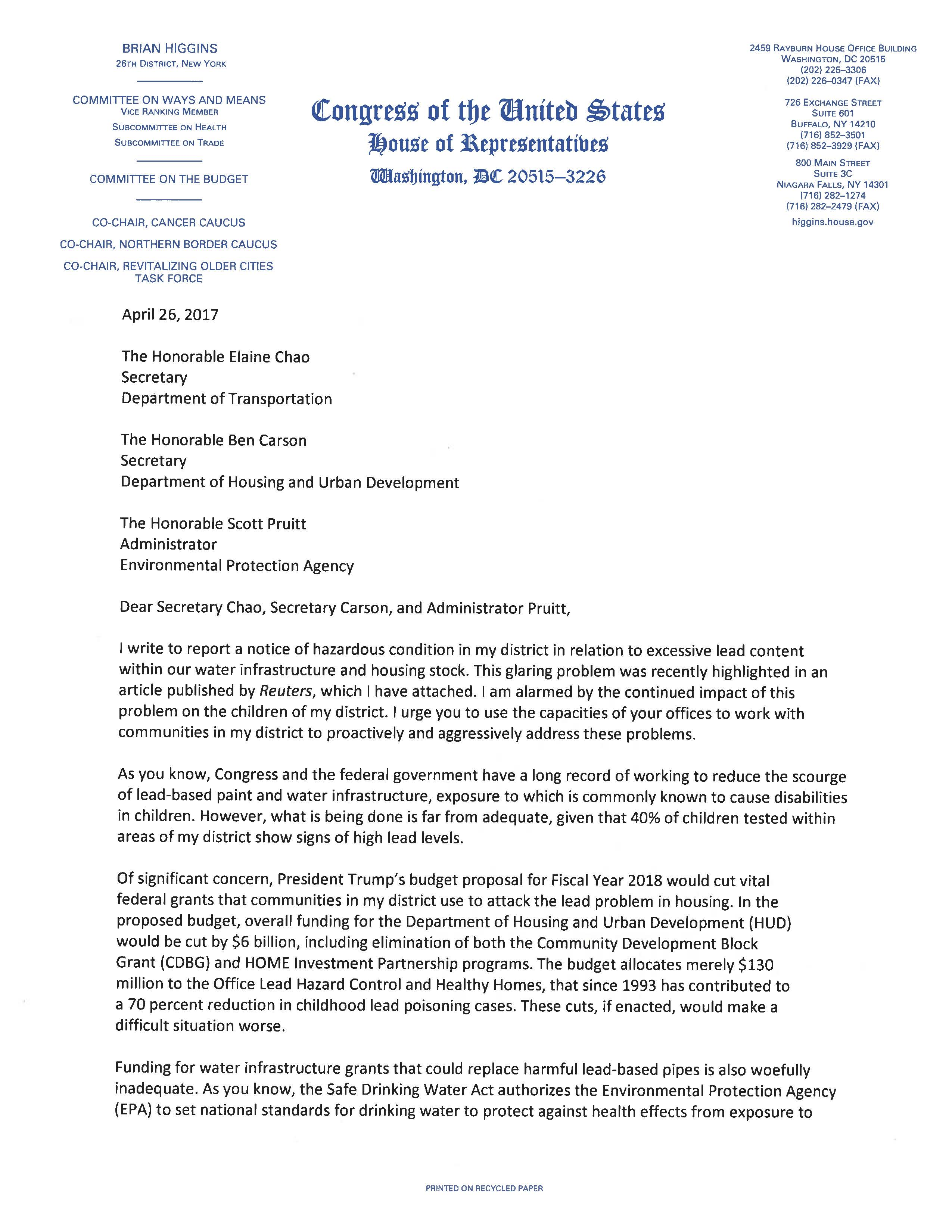 What Does C O Mean On A Letter.Letter To Dot Hud And Epa Congressman Brian Higgins